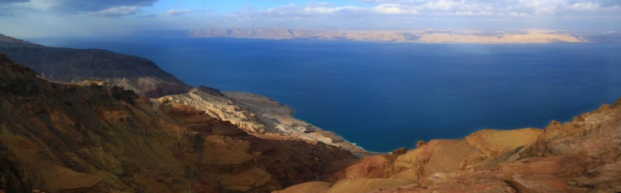Blick auf das tote Meer und Israel